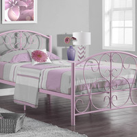 Pink Metal Twin Size Bed Frame Only