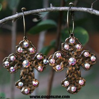 Bronze Fluff Earrings with AB Crystals on Hoop