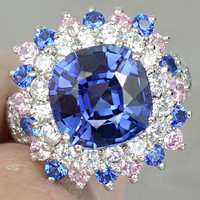 Kashmire Blue Sapphire with Pink & White Sapphire