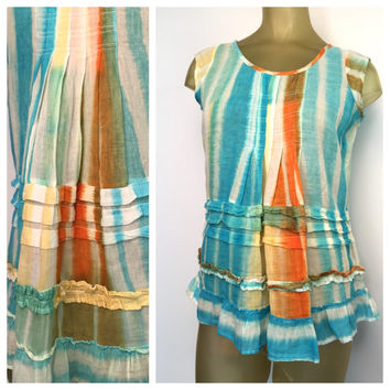 Dyed Boho Blouse Turquoise Blue Orange Ruffle Sleeveless Peasant Top Playa Wear Cotton India Bohemian Shirt Summer festival fun M
