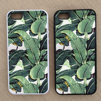 Cute Tropical Banana Leaf Pattern iPhone Case, iPhone 5 Case, iPhone 4S Case, iPhone 4 Case - SKU: 235