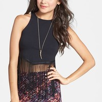 Lily White Fringed Crop Tank (Juniors) (Online Only)