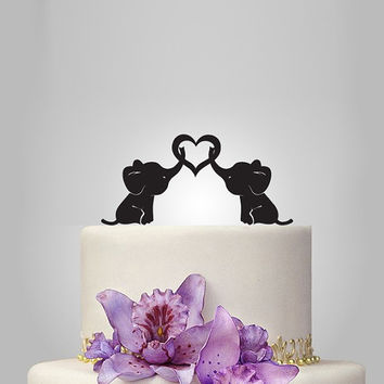 baby elephant Wedding Cake topper with heart, silhouette cake topper, heart weding cake topper, birthday cake topper, funny cake topper,