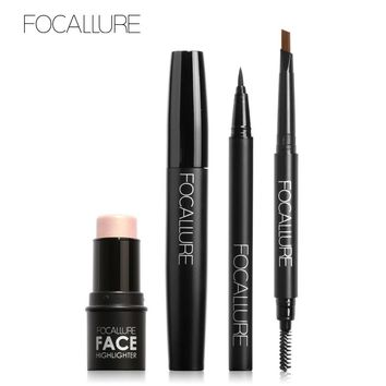 FOCALLURE 4Pcs Makeup Set with High Pigment Highlighter Cream Black Volume Mascara Eyeliner Pen and Eyebrow