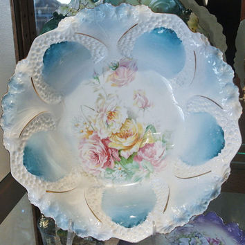 """RS Prussia Bowl Master Berry 10 1/2"""" Large  Porcelain Centerpiece Victorian Mutli Colored Roses Yellow Pink White Honeycomb Mold"""