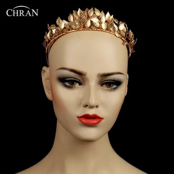 Chran Greek Goddess Leaf Crown Baroque Queen Gold Color Crown Tiara
