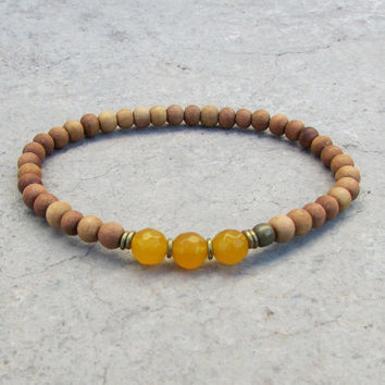 Confidence, third chakra, sandalwood and genuine yellow jade mala bracelet