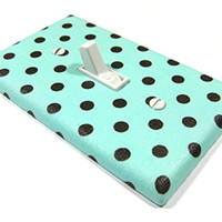 Sky Blue with Brown Polka Dots Light Switch Cover