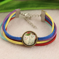 bracelet--lovely cat bracelet,retro bronze charm,glass cover picture,colorful rope bracelet