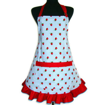 Strawberry Apron , Blue and White Check with Red Ruffle , Adjustable