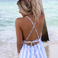 This Time Blue & White Striped Romper With Rope Waist Belt