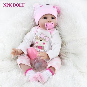 22 inches Realistic Newborn Baby Dolls Soft Body Silicone Vinyl Doll Bebe Bonecas Reborn Real Looking Alive Dolls Girls Gift