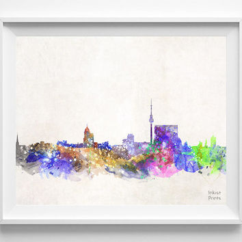 Berlin Skyline, Germany Watercolor, Poster, German, Print, Bedroom, Cityscape, City Painting, Living room, Illustration Art, Europe [NO 423]