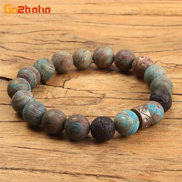 Go2boho Punk rock beads bracelet Aging Natural stone Bracelet for men fashion bileklik Personalized men jewelry accessories gift