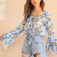 Bell Sleeve Knot Front Botanical Print Blouse