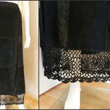 Black Color Crochet Lace Suede Long Skirt, Hippie Boho Patchwork Leather Skirt, Vintage Leather Size M/L Tall Girl Clothing