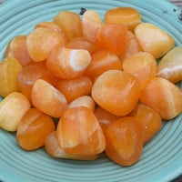 ORANGE CALCITE Positive Energy Generator Stone - Helps with Depression & Anxiety - Eases Mental / Emotional Turmoil and Restores Playfulness