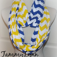 NEW!! Royal Blue and Yellow Long Chevron 2 Pair Team Game Day WVU UCLA Iowa Scarves Jersey Knit Infinity Scarves