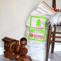Personalized Santa Sack  Muslin Sack with by PoofyCheeksShop