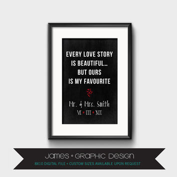 Every Love Story Is Beautiful But Ours Is My Favourite, Wedding Anniversary, Mr and Mrs, Chalkboard Quote, Customized, Typography, 8 x 10