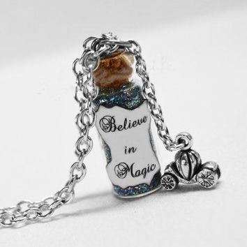 12pcs/lot BELIEVE In MAGIC Bottle Necklace with a  Pumpkin Carriage Charm, Cinderella Believe Jewelry