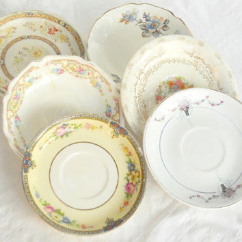 Cottage Style Vintage Shabby Mismatched Small Plates, Set of 6, Bread and Butter, Dessert, CIJ, Tea Party, Mosaic Supplies, Ca. 1940's
