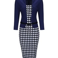 Casual Plaid Fake Two-Piece Elegant Office Bodycon Dress