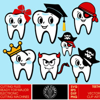 Dental - Tooth - Digital Vector Clipart. Cut Files for Cricut, Silhouette (svg, eps, dxf, png) Digital Downloads for die cutting CV-513