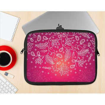 The Vibrant Pink & White Branch Illustration Ink-Fuzed NeoPrene MacBook Laptop Sleeve