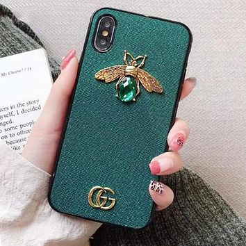 GUCCI Stylish Women Chic Luxury Bee Crystal GG Letter Mobile Phone Cover Case For iphone 6 6s 6plus 6s-plus 7 7plus 8 8plus X XsMax XR Green