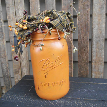 Hand Painted Mason Jar - Distressed Mason Jar - Flower Arrangement -Country-Farmhouse-Rustic-Primitive-Lodge-Rag & Berry