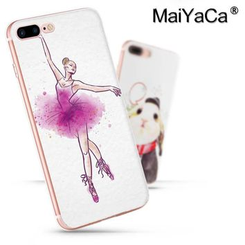 MaiYaCa On Sale Luxury Cool Phone Accessories Case For iPhone 8 plus Case Ballet Dance Girl Painted cover