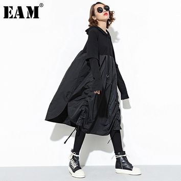 [EAM] 2018 New Autumn Hooded Long Sleeve Drawstring Black Fold Split Joint Loose Long Dress Women Fashion Tide JD07601
