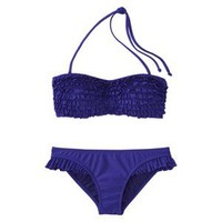 Xhilaration® Junior's 2-Piece Blue Ruffle Bandeau Swimsuit
