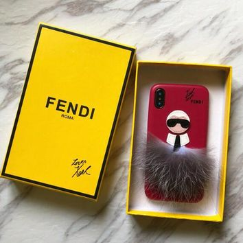 FENDI Fashionable Couple Cute Plush Mobile Phone Cover Case For iphone 6 6s 6plus 6s-plus 7 7plus 8 8plus X XSMax XR Rose Red