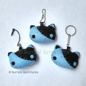 Kawaii Pastel Goth Cat Cell Phone Plug Charm Keychain, Stitched Cat, Creepy Cute Cat Plush Keychain, Kawaii Dust Plug, Kawaii Goth Plushie