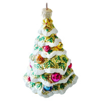 "6"" Christmas Tree Ornament, Green/White"