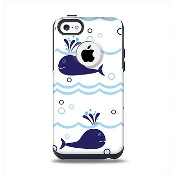 The Navy Blue Smiley Whales Apple iPhone 5c Otterbox Commuter Case Skin Set