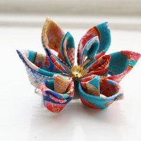 Kimono Hair Flower / Brooch / Hair Clip / Corsage in Turquoise and Pink
