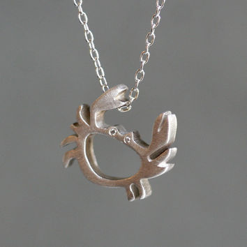 Crab Necklace in Sterling Silver with Diamonds