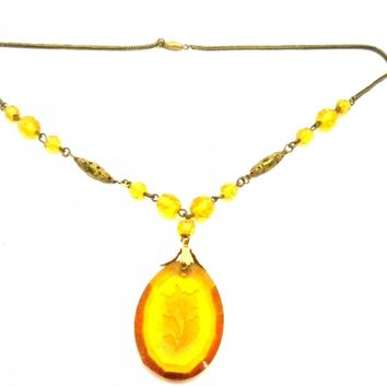 Vintage Amber Glass & Brass Necklace Downton Abbey 1920s Era