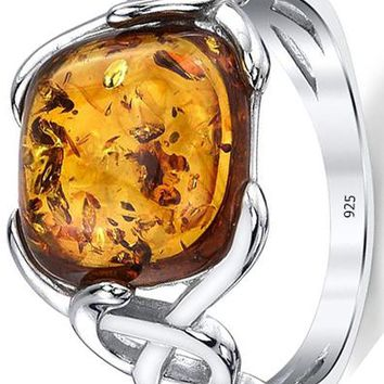 Sterling Silver 925 Baltic Amber Irish Celtic Design Ring with Large Cushion Shape Stone
