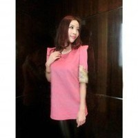 Fashionable Noble Embroidered Half Sleeve Shoulder Padded Round Neck Top 2 Colors