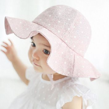 Toddler Children Baby Girls Sun Hats Spring Summer Caps Polka Dots Beach Hat Baby Kids Princess Bucket Hat New Drop Shipping