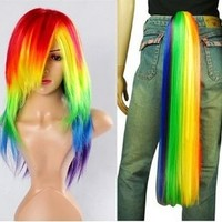 Hiliss My Little Pony Rainbow Dash Cosplay Costume Wig Tail Ponytail Set