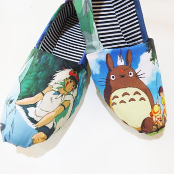 Studio Ghibli Shoes (Toms, Flats, Totoro, Princess Mononoke, Kiki's Delivery Service, Spirited Away, Hayao Miyazaki, Anime) Men, Women, Kids