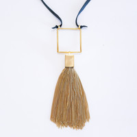 Square chain tassel necklace