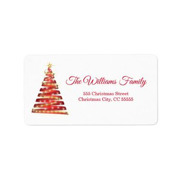 Simple Red Gold Christmas Tree Address Label