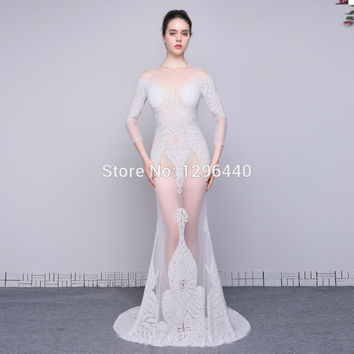100%Real Photos Mermaid Prom Dresses With Sleeves Scoop Long Prom Dress 2016 Beaded Sexy See Through Formal Evening Party Gowns