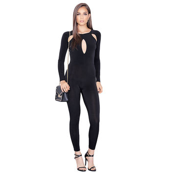 Playsuit Sexy Front Cut Out Bodysuit O Neck Black Long Sleeve Rompers Women Jumpsuit Overalls Bodycon Jumpsuit Mono  SM6